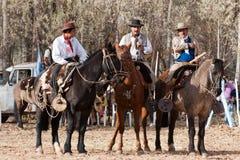 Gauchos, die ein Pferd reiten Stockfoto