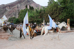 Gauchos on traditional festival in Purmamarca, province Jujuy Royalty Free Stock Photography