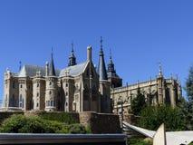 GaudÃ阿斯托加, Leà ³ n,西班牙宫殿和大教堂  库存图片