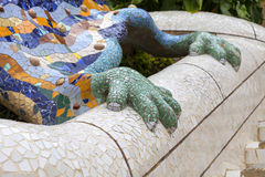 Gaudí's multicolored mosaic salamander in Park Guell, Barcelona, Spain Royalty Free Stock Photo