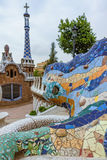 gaudi马赛克龙蝾虫原在巴塞罗那公园guell的  免版税库存照片