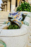 Gaudi龙喷泉,巴塞罗那,西班牙 免版税库存图片