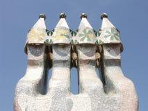 Gaudi architecture. Chimney made by Gaudi architecture Stock Photo