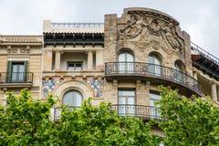 Gaudi arkitektur från 1829 i Barcelona Arkivbild