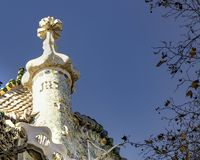 Gaudi Batllo House Building, Barcelona, Spain. Exterior low angle detail view of batllo house, a famous masterpiece atchitecture located in barcelona city, spain royalty free stock photography