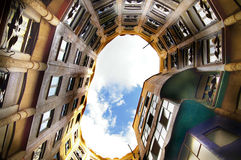 Gaudi building. The courtyard of the Guadi designed Padrera building in Barcelona, Spain Stock Photos