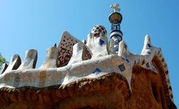 Gaudi buildings roofs. Roof of Gaudi's building at the entrance of park Guell, Barcelona, Spain Stock Photos