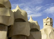 Gaudi chimneys, Barcelona, Spain Royalty Free Stock Image