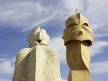 Gaudi chimneys, Barcelona, Spain Royalty Free Stock Photos