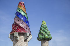 Gaudi Chimneys. Barcelona, Spain - September 25, 2015: Gaudi Chimney, Palau Guell, Gaudi broken tile mosacis and strange decorated chimneys are evident in his Stock Image