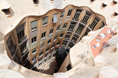 Gaudi designed apartment building La Pedrera Royalty Free Stock Photo