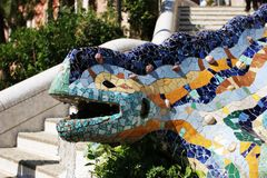 Gaudi dragon fountain in Park Guell. Park Guell in Barcelona Spain is one of Antonio Gaudi's masterpiece royalty free stock photos