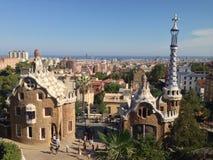 Gaudi en el parque Guell, Barcelona, España Imagenes de archivo