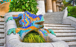 Gaudi Famous Lizzard in Park Guell Royalty Free Stock Photography