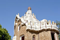 Gaudi hause. Details of the weird roof of the Gaudi hause in the Park Guell - Barcelona, Spain Stock Images