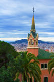 Gaudi House Museum. Barcelona, Spain - April 1, 2017: The tower of Gaudi House Museum royalty free stock photo
