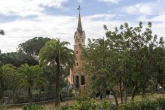 Gaudi house museum. Viewed from the entrance point. Taken in Park Guell in barcelona, spain Stock Photography