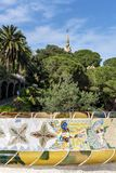 Gaudi house in Parc Guell, Barcelona, Spain stock photography