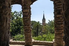 Gaudi house in Park Guell stock photos