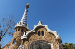 Gaudi House, Park Guell. Close-up of a house designed by Catalan architect Antoni Gaudí at the entrance to Parc Güell, Barcelona royalty free stock photos