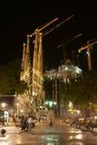 Gaudi i natten Arkivfoto