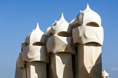 La Pedrera Chimneys by Gaudi Stock Photos