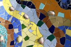 Gaudi Mosaic Technique. Detail of a Parc Guell artwork in Barcelona, Spain stock photos