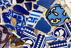Gaudi mosaic wall. Mosaic wall in Park Guell in Barcelona, Spain Stock Photos
