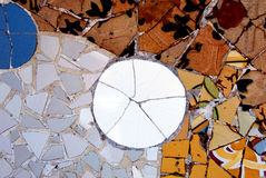 Gaudi mosaic wall. Mosaic wall in Park Guell in Barcelona, Spain Royalty Free Stock Photo