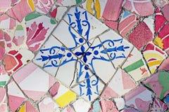 Gaudi mosaikarbete på Park Guell Fotografering för Bildbyråer