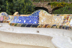 Gaudi multicolored mosaic bench  in Park Guell; Barcelona; Spain Stock Photography