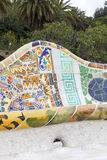 Gaudi multicolored mosaic bench  in Park Guell; Barcelona; Spain Stock Photos