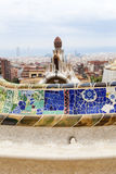 Gaudi multicolored mosaic bench  in Park Guell; Barcelona; Spain Royalty Free Stock Photo