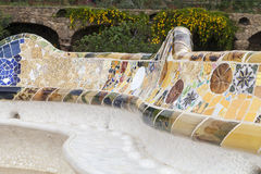 Gaudi multicolored mosaic bench  in Park Guell; Barcelona; Spain.  Royalty Free Stock Photography
