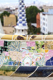 Gaudi multicolored mosaic bench  in Park Guell; Barcelona; Spain.  Stock Images