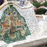 Gaudi multicolored mosaic bench  in Park Guell; Barcelona; Spain Stock Images