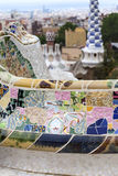 Gaudi multicolored mosaic bench  in Park Guell; Barcelona; Spain.  Royalty Free Stock Image