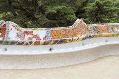 Gaudi multicolored mosaic bench  in Park Guell; Barcelona; Spain. Royalty Free Stock Photos