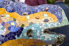 Gaudi multicolored mosaic salamander in Park Guell, Barcelona ,Spain Stock Photo