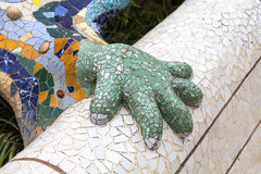 Gaudi multicolored mosaic salamander in Park Guell, Barcelona ,Spain Stock Photos