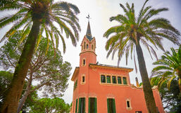 Gaudi Museum Barcelona Spain. Gaudi Museum in Park Guell Barcelona with Palm Trees Royalty Free Stock Photo