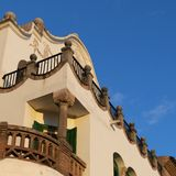 Gaudi Museum House Detail, Park Guell. Exterior detail view museum house located at guell park, Barcelona, Spain stock photo