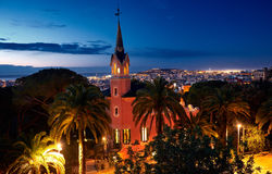 Gaudi Museum in Park Guell at Sunrise. Gaudi Museum in Park Guell at Sunrise in Barcelona Spain Stock Photo