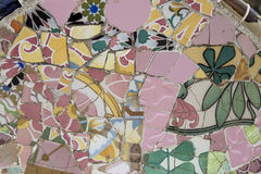 Gaudi Pink Tiles. Gaudi Floral Pink Tiles at Paark Gruell, Barcelona, Spain Royalty Free Stock Photo