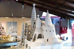 Gaudi ` s展览会提出走与建筑师` s个人财产和测试mo的Gaudi的永久陈列 图库摄影