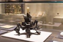 Gaudi ` s展览会提出走与建筑师` s个人财产和测试mo的Gaudi的永久陈列 免版税库存图片
