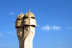 Gaudi's chimneys, Barcelona, Spain Royalty Free Stock Photo