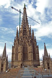 Gaudi's church. Cathedral of Barcelona. Gaudi's  uncompleted church in Barcelona, Spain. View from a neighboring roof Stock Images