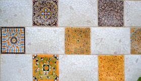 Gaudi's textures. In Park Guell Stock Photo