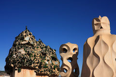 Gaudi's Works. La Pedrera. Soldiers chimneys Royalty Free Stock Photos